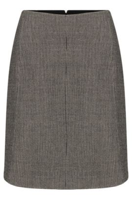 Finely checked skirt in stretchy wool blend: 'Vasyla', Patterned
