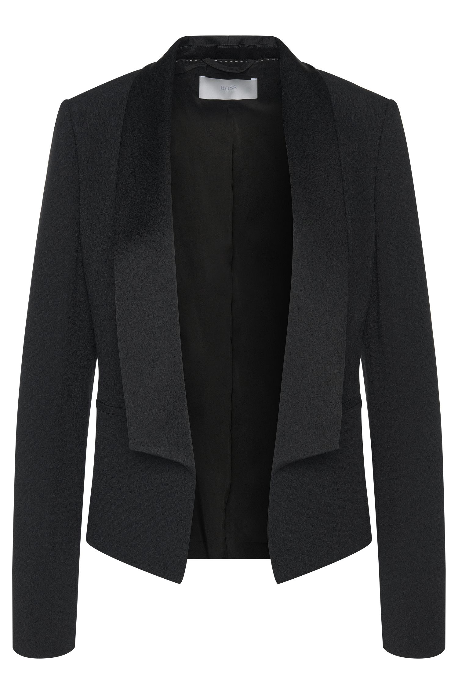 Blazer with open front and shawl collar: 'Jefila'