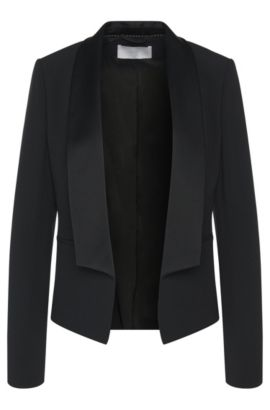Blazer with open front and shawl collar: 'Jefila', Black