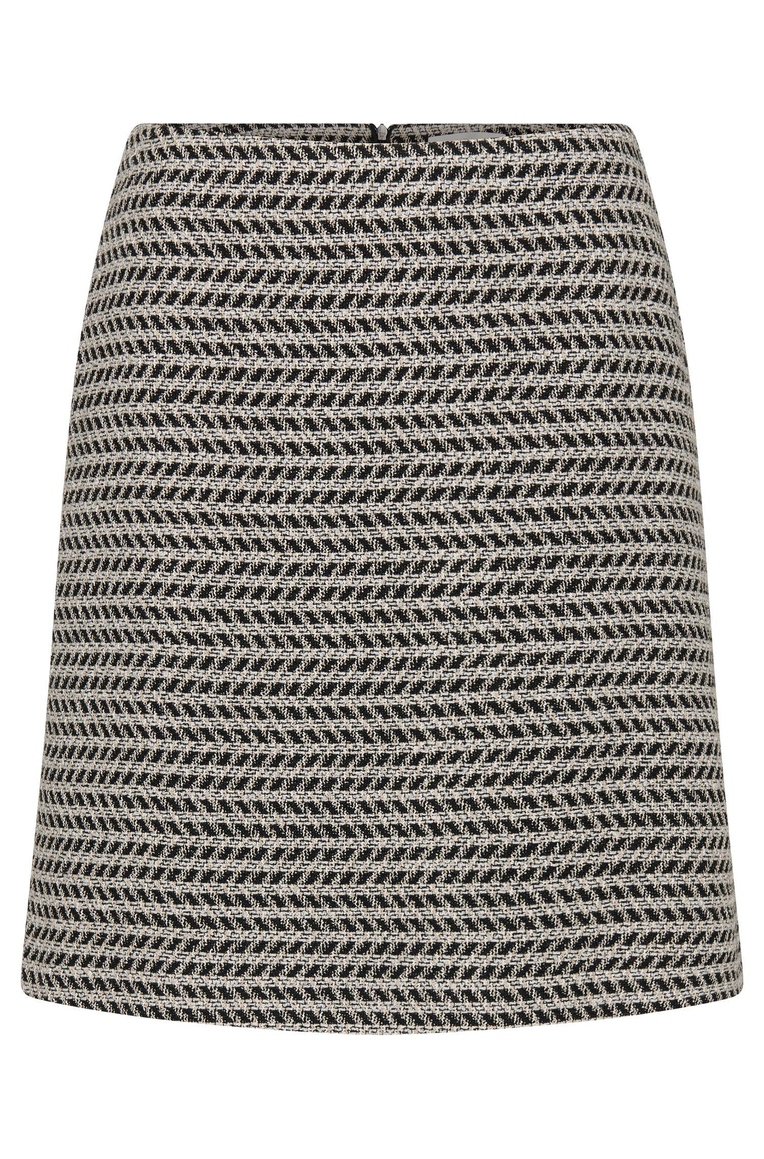 Falda estampada en mezcla de algodón con lana virgen: 'Marelia'