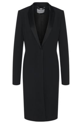 Coat in fabric blend with viscose in dinner jacket style: 'Cafina', Black