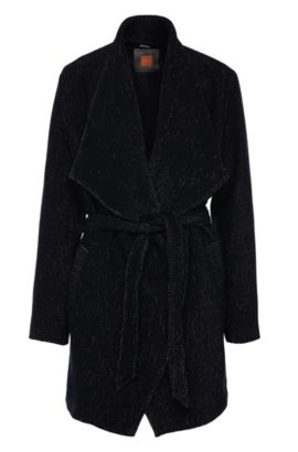 Cappotto relaxed fit con ampio colletto in materiali misti: 'Owalla1', A disegni