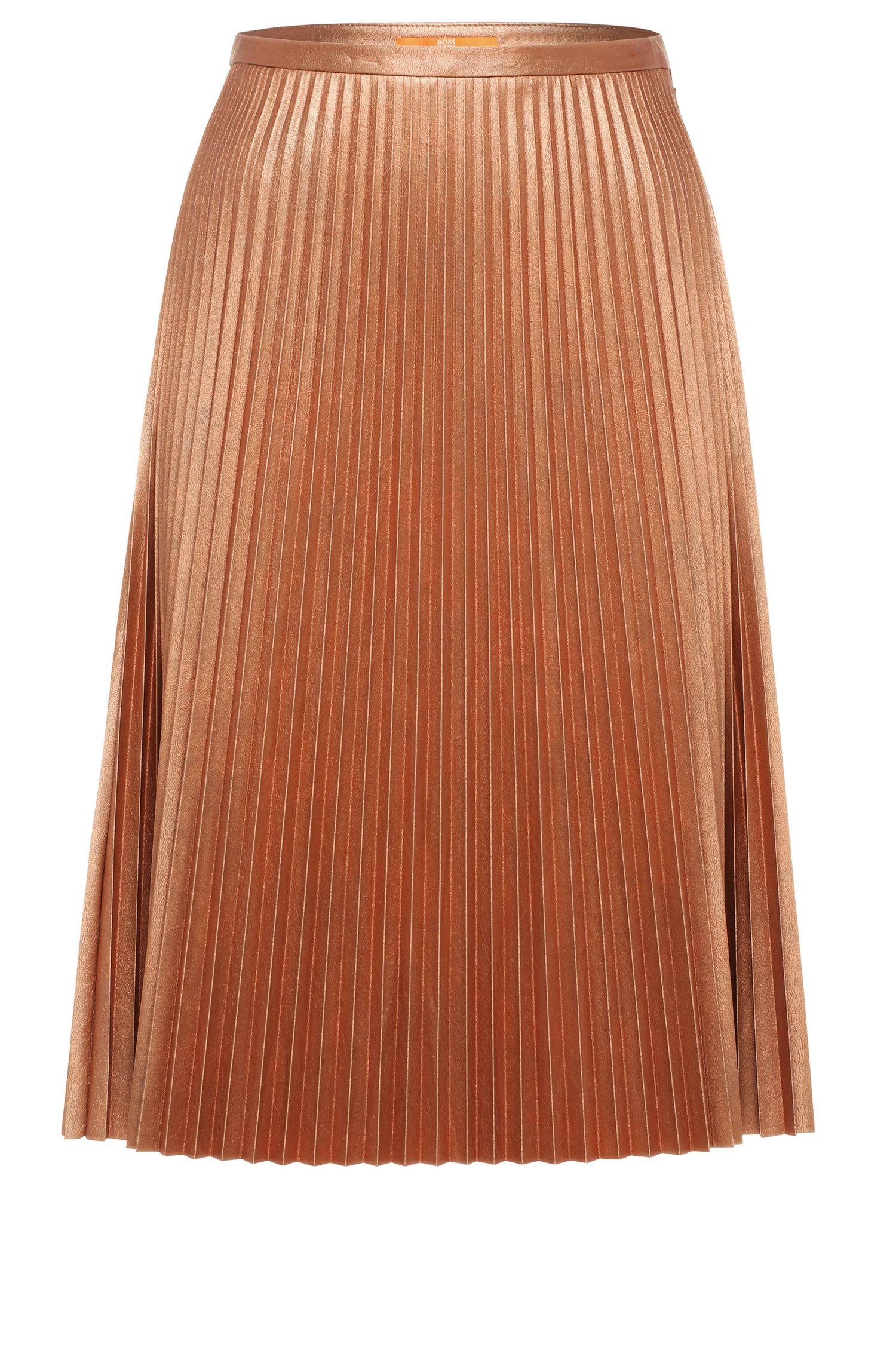 Pleated skirt in fabric blend with metallic effect: 'Baledina'