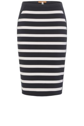 Striped slim-fit skirt in a stretch fabric blend with viscose: 'Balanja', Patterned