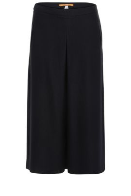 Culottes in textured viscose blend with wool: 'Sacrepa', Dark Blue