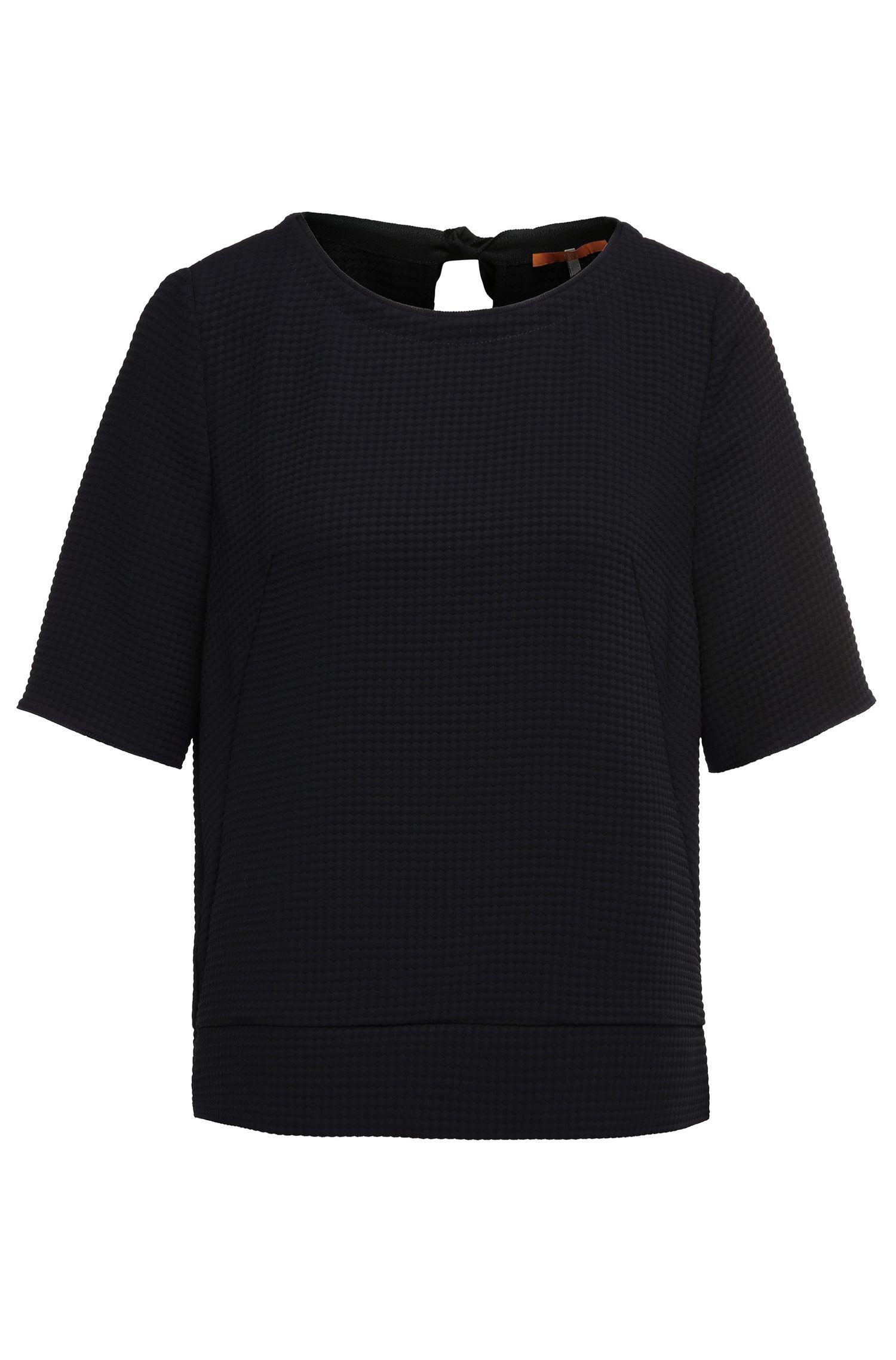 Regular-fit top in textured fabric blend: 'Kadotty'