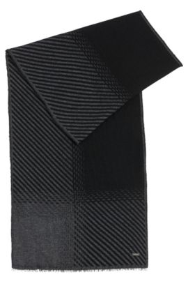 Écharpe bicolore en laine vierge mélangée à du cachemire: «Punteos», Noir