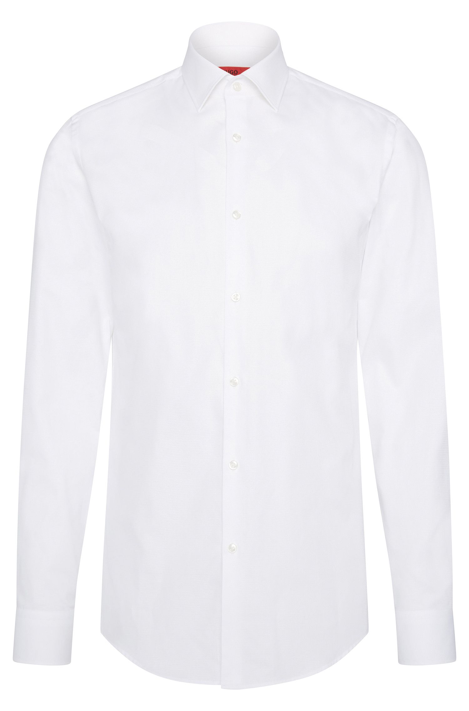 Slim-fit overhemd van katoen met kentkraag: 'C-Jenno'