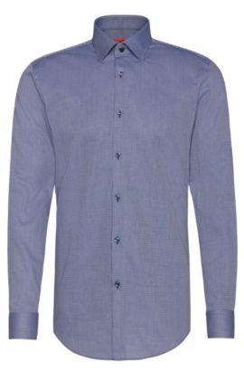 Slim-fit overhemd van katoen met kentkraag: 'C-Jenno', Donkerblauw