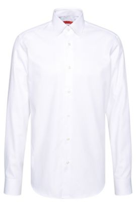 Regular-fit shirt in textured cotton: 'C-Enzo', Open White