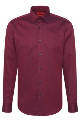 Regular-fit shirt in textured cotton: 'C-Enzo', Purple