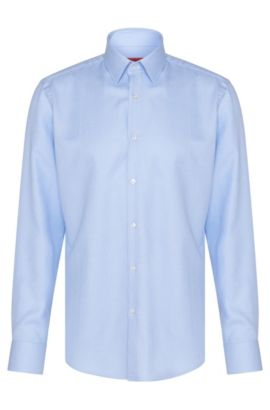 Regular-fit shirt in cotton with all-over pattern: 'C-Enzo', Light Blue