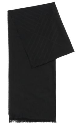Plain scarf in viscose blend with cotton and modal: 'Callorio', Black
