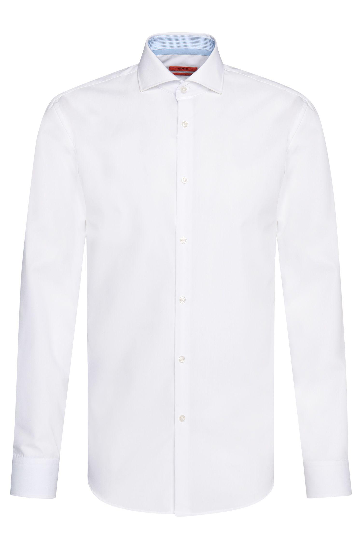 Slim-fit overhemd van katoen met contrastdetails: 'C-Jery'