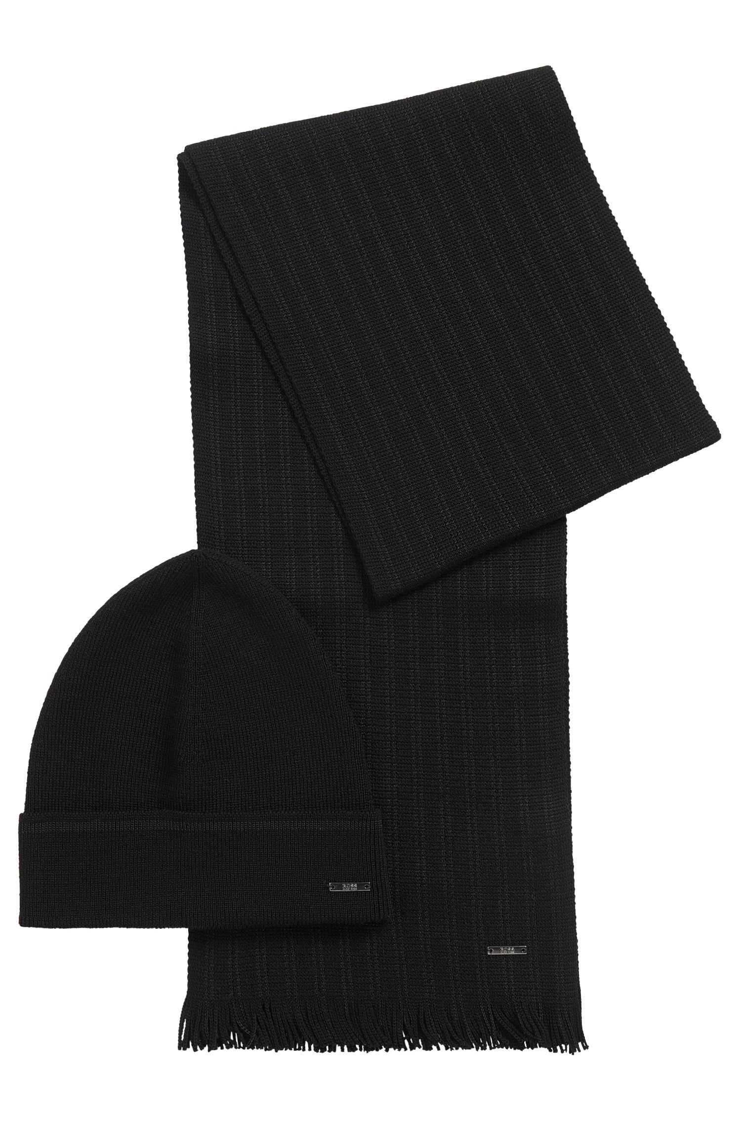 Set comprising a beanie and scarf with striped detail: 'Marros-Set'