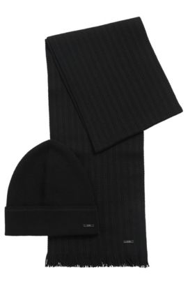 Set comprising a beanie and scarf with striped detail: 'Marros-Set', Black