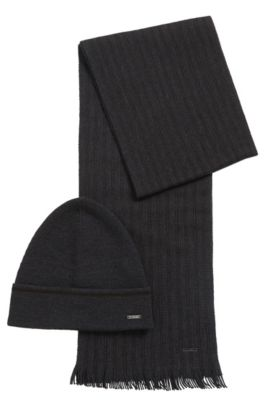 Set comprising a beanie and scarf with striped detail: 'Marros-Set', Dark Grey