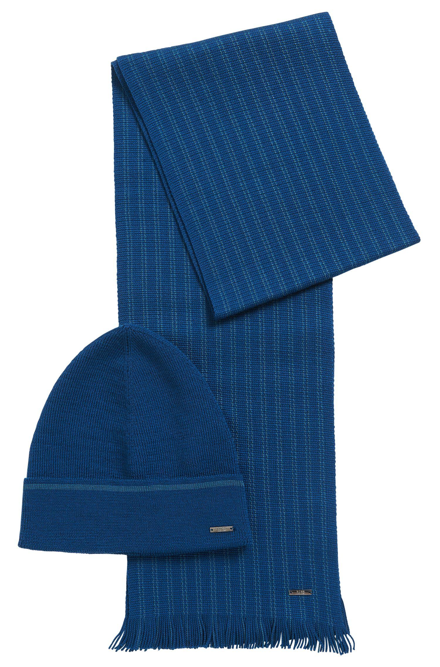 Set aus Mütze und Schal mit Streifen-Detail: 'Marros-Set'