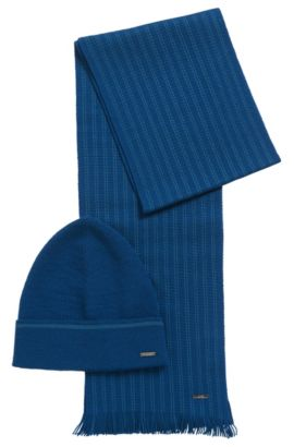 Set comprising a beanie and scarf with striped detail: 'Marros-Set', Turquoise