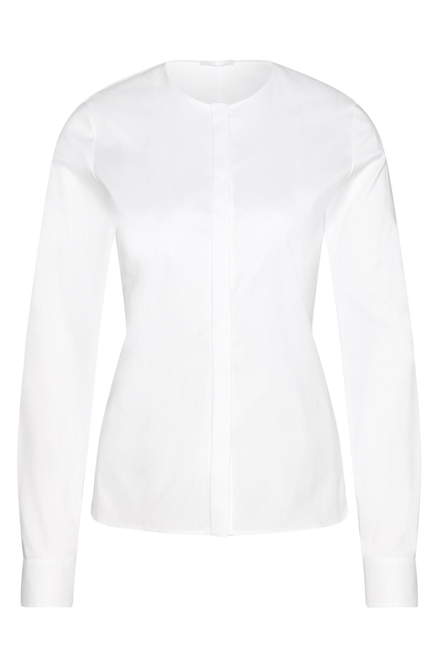 Blusa en mezcla de algodón con cinta decorativa: 'Binana'