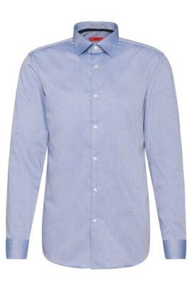 Fijngeruit slim-fit overhemd van gemakkelijk te strijken katoen: 'C-Joey', Donkerblauw