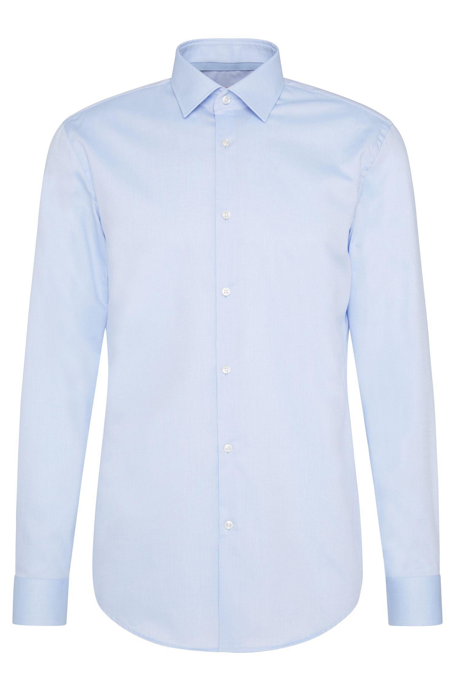 Fijngeruit slim-fit overhemd van gemakkelijk te strijken katoen: 'C-Joey'