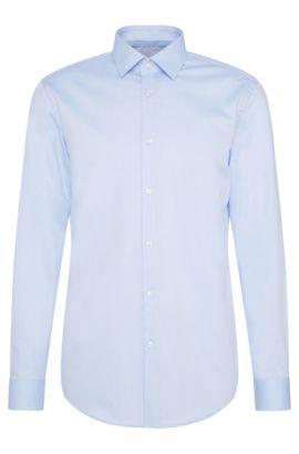 Camisa slim fit de cuadros elegantes en algodón fácil de planchar: 'C-Joey', Celeste