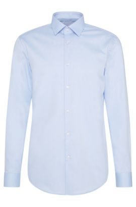 Camicia slim fit a quadri sottili in cotone facile da stirare: 'C-Joey', Celeste