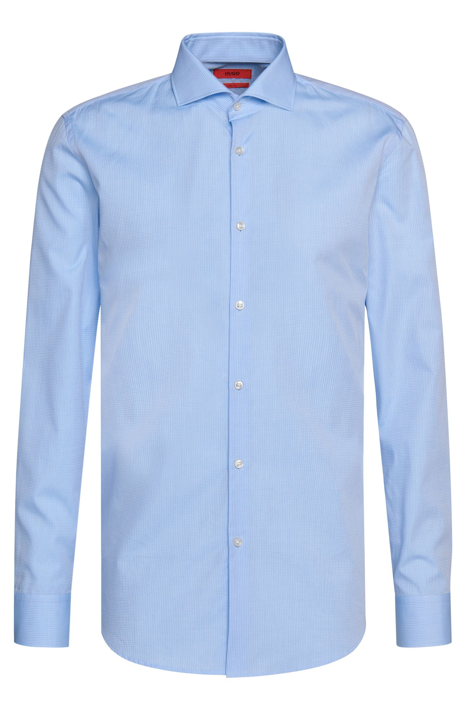 Checked slim-fit shirt in cotton with a fine texture: 'C-Jason'