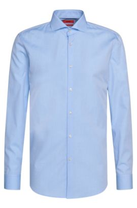 Checked slim-fit shirt in cotton with a fine texture: 'C-Jason', Light Blue