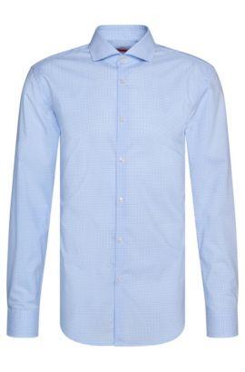 Kariertes Slim-Fit Hemd aus bügelleichter Baumwolle: 'C-Jason', Hellblau