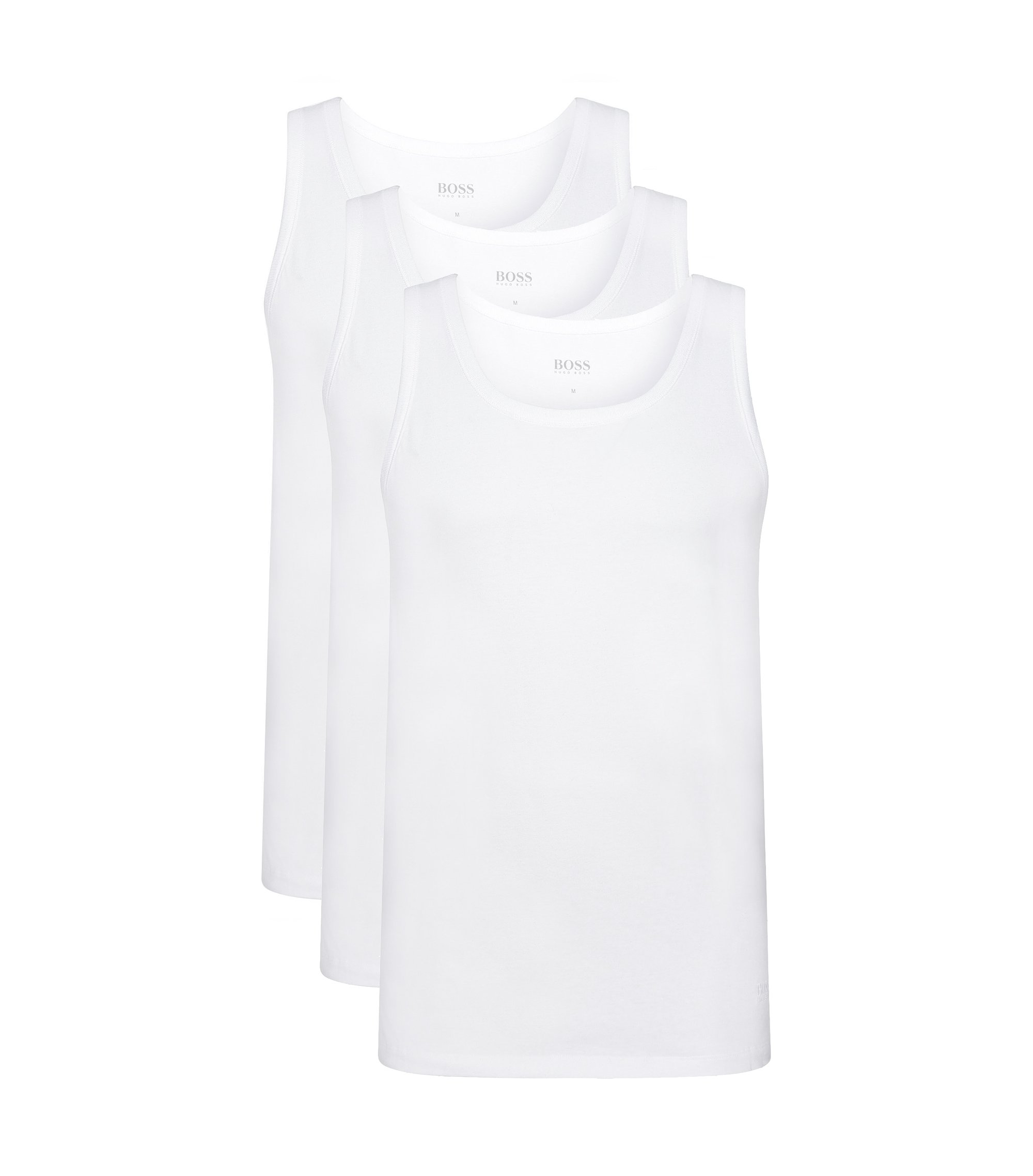 Triple pack of regular-fit cotton vests , White