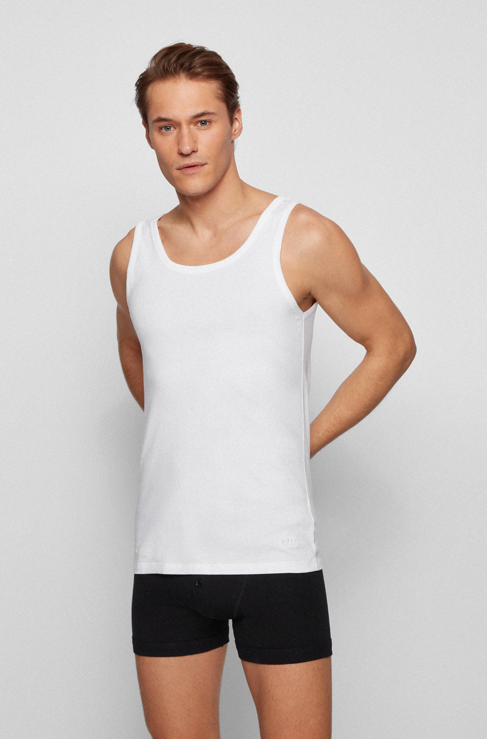 Three-pack of underwear vests in pure cotton