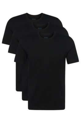Regular-Fit T-Shirts aus Baumwolle im Dreier-Pack , Schwarz