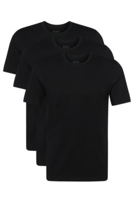 Triple pack of regular-fit cotton T-shirts , Black