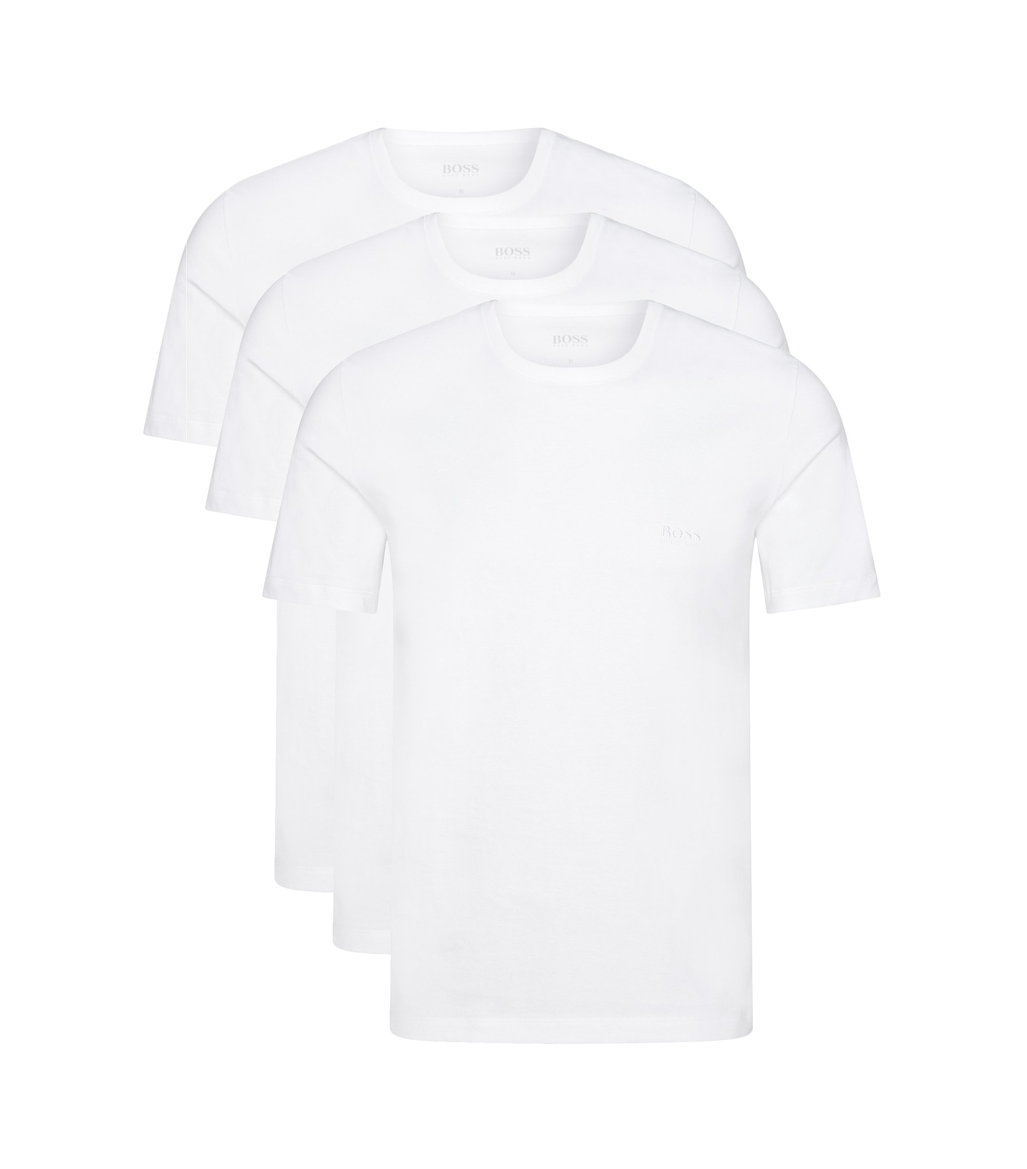 Paquete de tres camisetas regular fit en algodón , Blanco