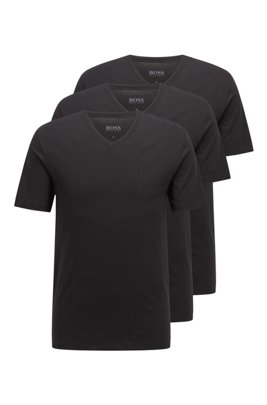 Three-pack of V-neck underwear T-shirts in cotton, Black