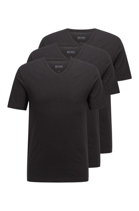 Three-pack of V-neck underwear T-shirts in cotton, Black