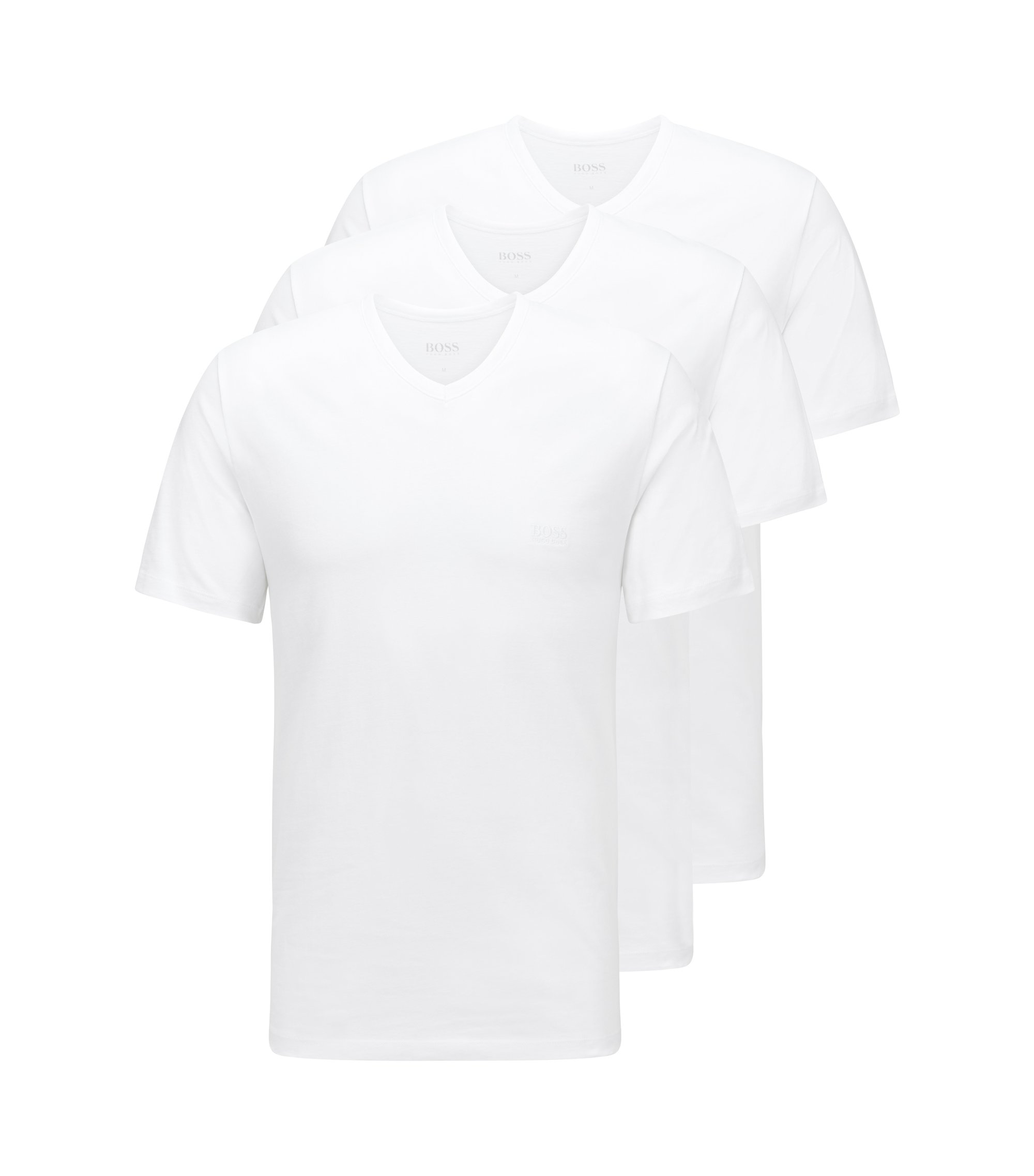 Lot de trois t-shirts Regular Fit en coton, Blanc