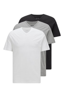 Three-pack of V-neck underwear T-shirts in cotton, White / Grey / Black