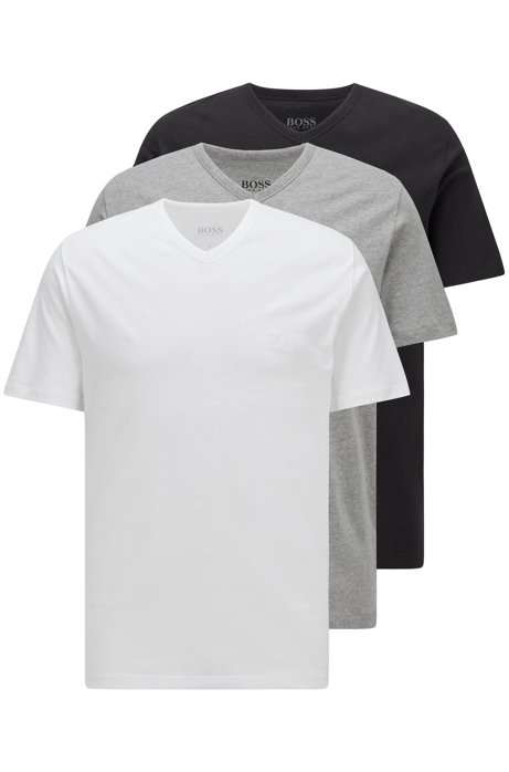 Three-pack of V-neck underwear T-shirts in cotton, Assorted-Pre-Pack