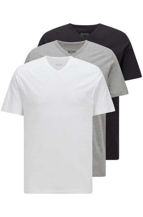 Paquete de tres camisetas interiores de algodón con cuello en pico, Assorted-Pre-Pack