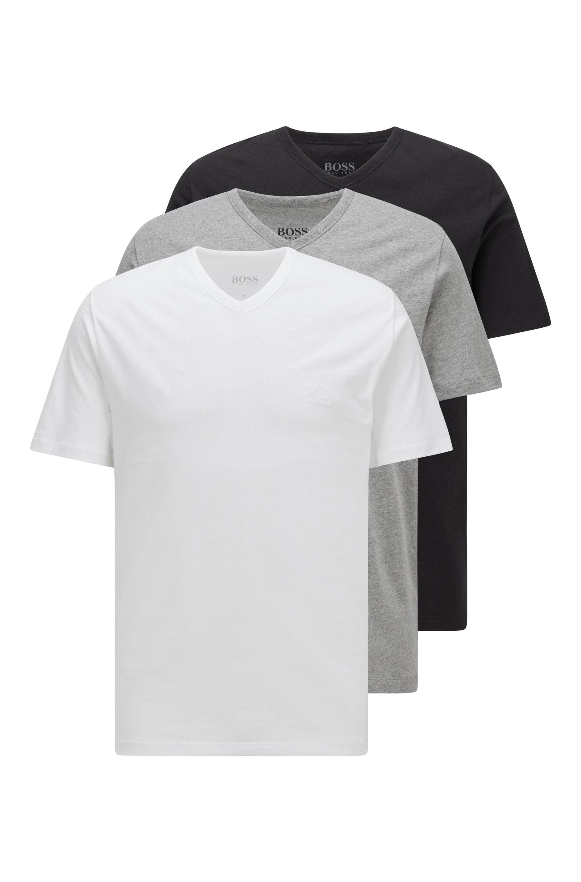 Dreier-Pack T-Shirts aus Baumwolle mit V-Ausschnitt, Weiß / Grau / Schwarz