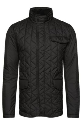 Quilted jacket with integrated hood: 'Cadell', Black