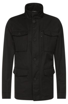 Water-repellent jacket in cotton blend: 'Calvary', Black