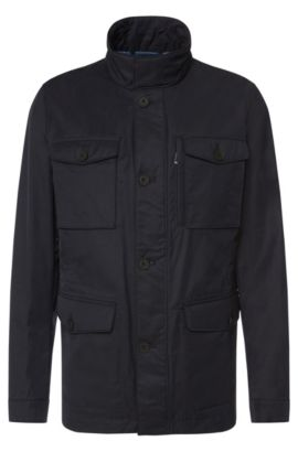 Water-repellent jacket in cotton blend: 'Calvary', Dark Blue
