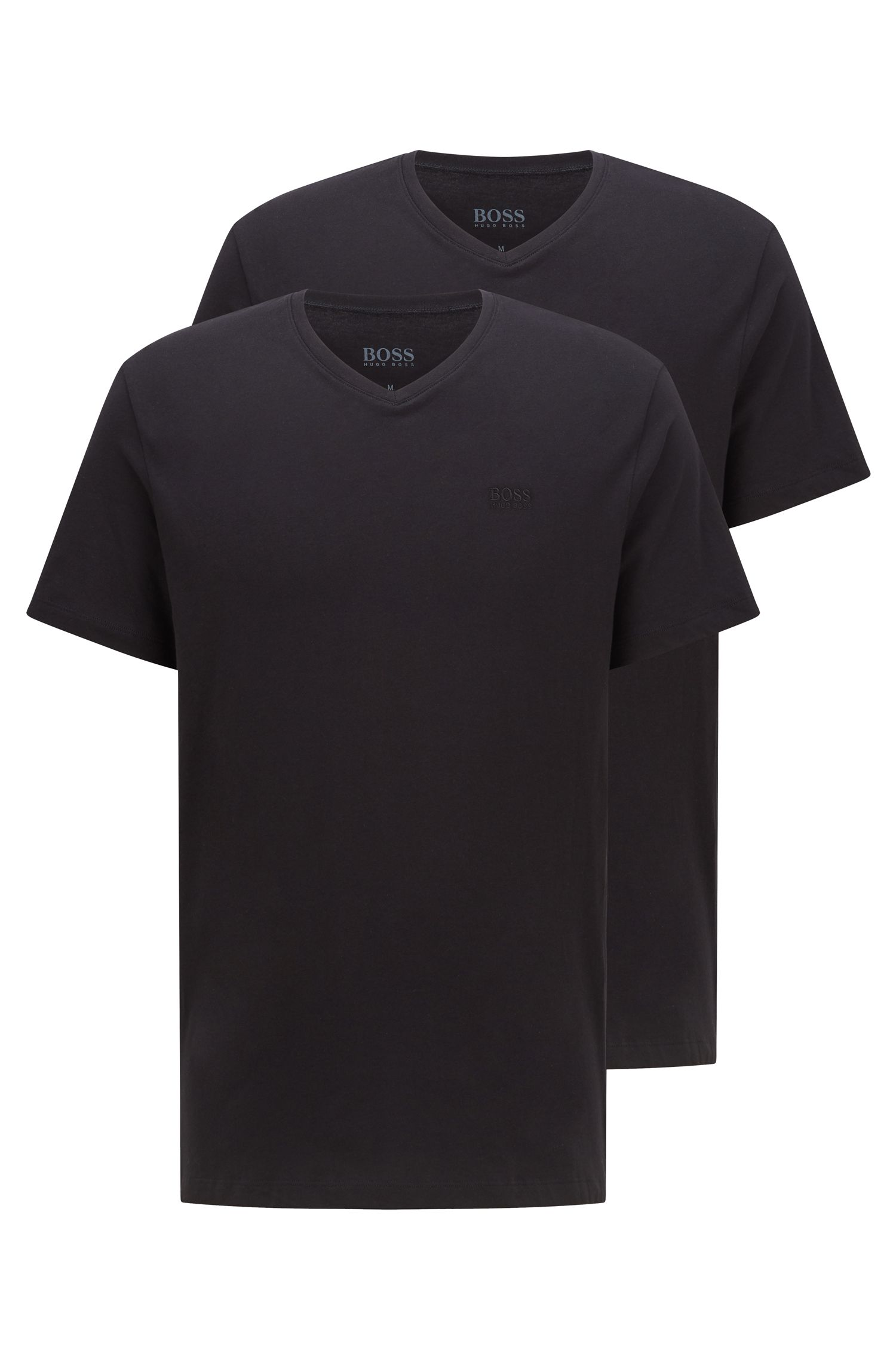Double pack of relaxed-fit cotton T-shirts , Black