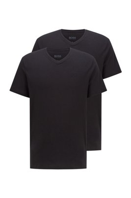 Two-pack of V-neck underwear T-shirts in cotton, Black