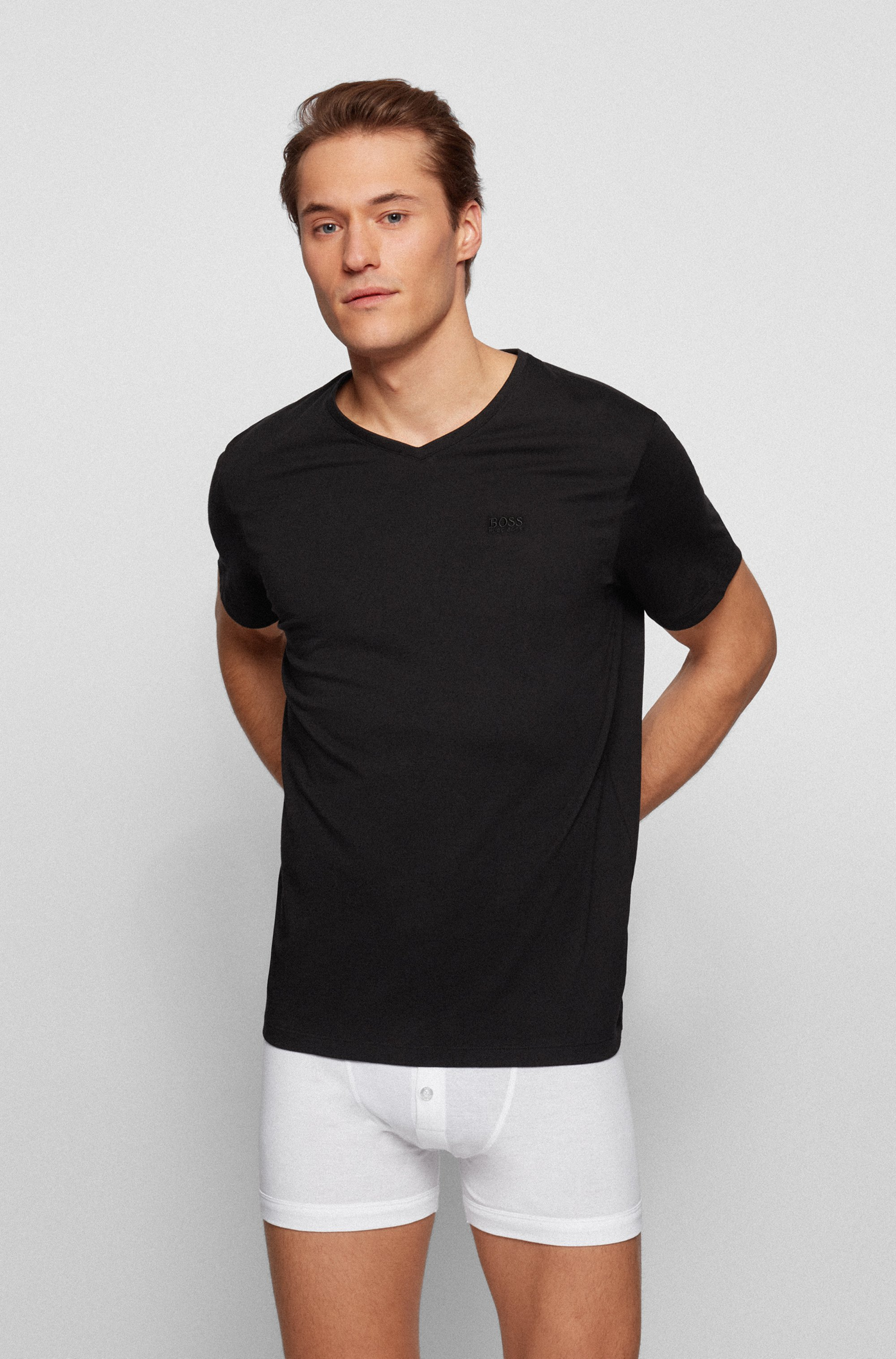 Two-pack of V-neck underwear T-shirts in cotton