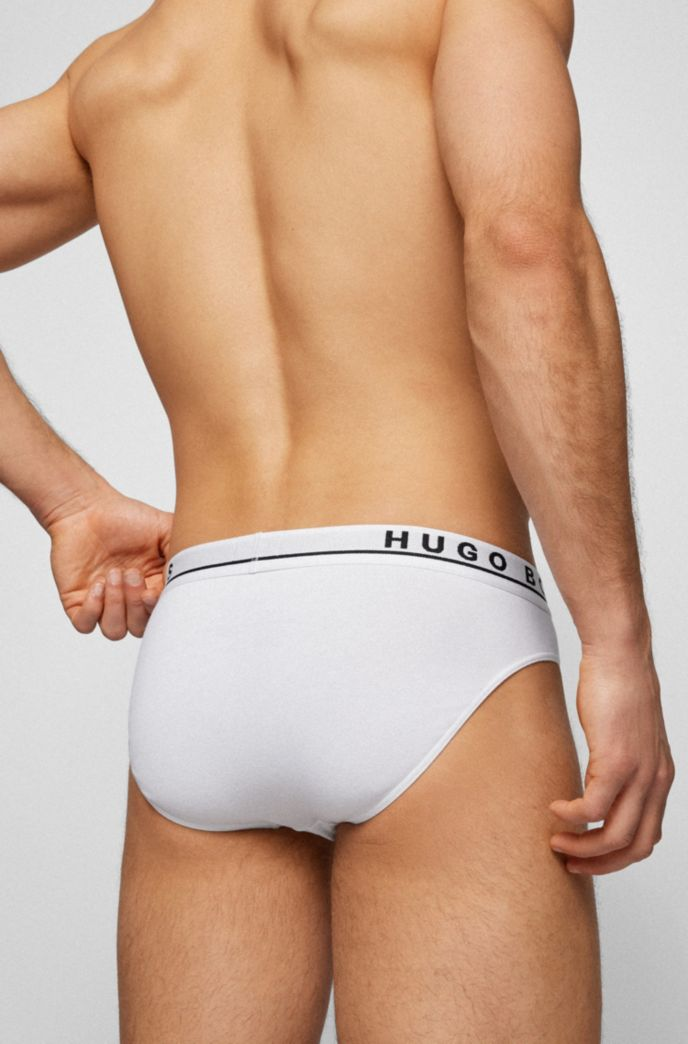 Three-pack of stretch-cotton briefs with logo waistbands